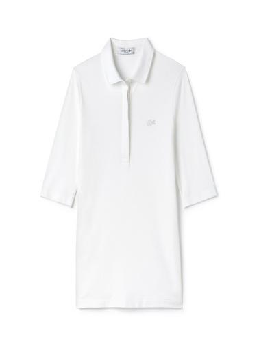 Lacoste Kadın Slim Fit Tişört PF7844.001 Beyaz